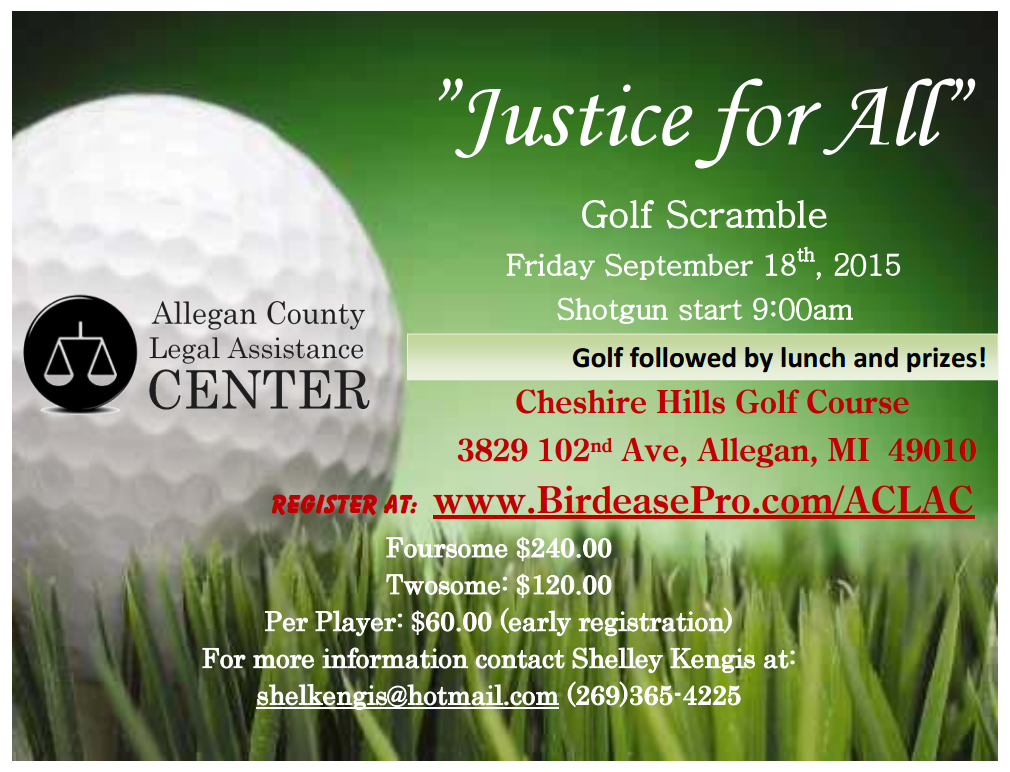 Allegan County Legal Assistance Center To Host Golf Outing September 18