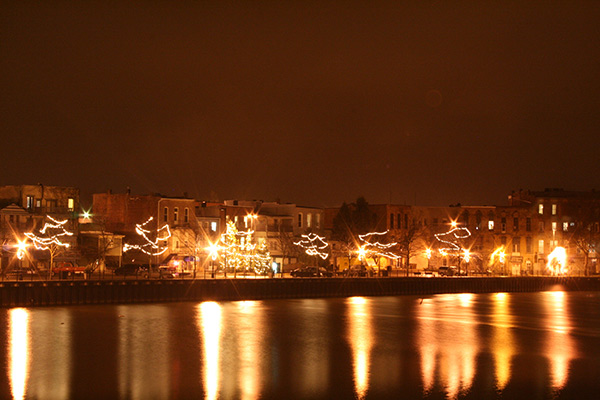 Allegan Riverfront at Night